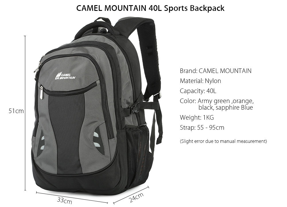 Camel Mountain Outdoor Hiking Pack Mochila Travel Sports Backpack