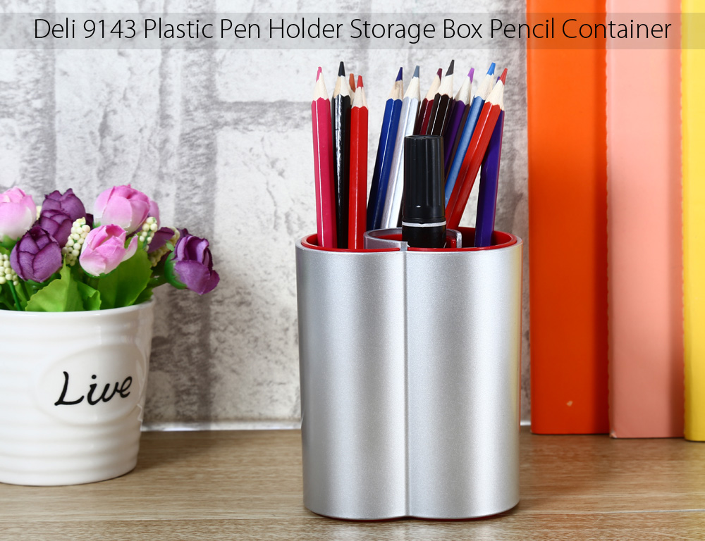 Deli 9143 Plastic Pen Holder Multi-functional Stationery Pencil Container