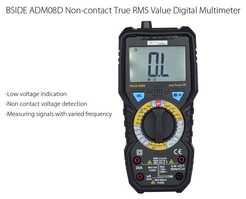 Bside Adm08d True Rms Value Digital Multimeter 2980 Free Electrician Testing Doorbell Transformer With Package Contents 1 X Test Lead Pen Pair Temperature Probe English Manual