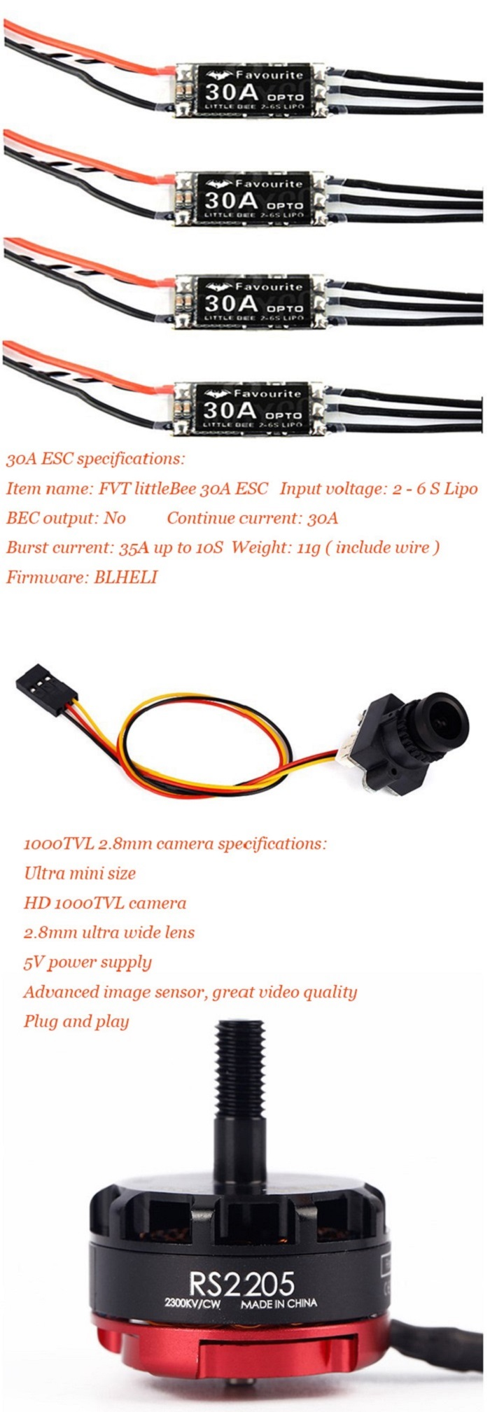 GB190 Carbon Fiber 190mm Wheelbase Multirotor DIY Frame Kit Racing Drone 30A ESC F3 10DOF Flight Controller