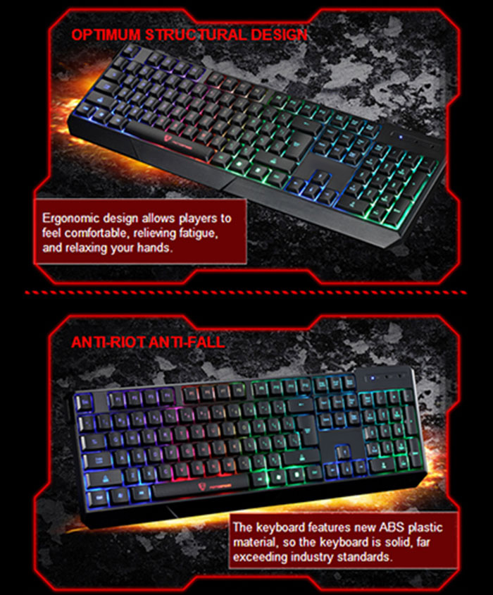 MotoSpeed K70L 7-Color Backlight Gaming Keyboard USB Powered for Desktop Laptop