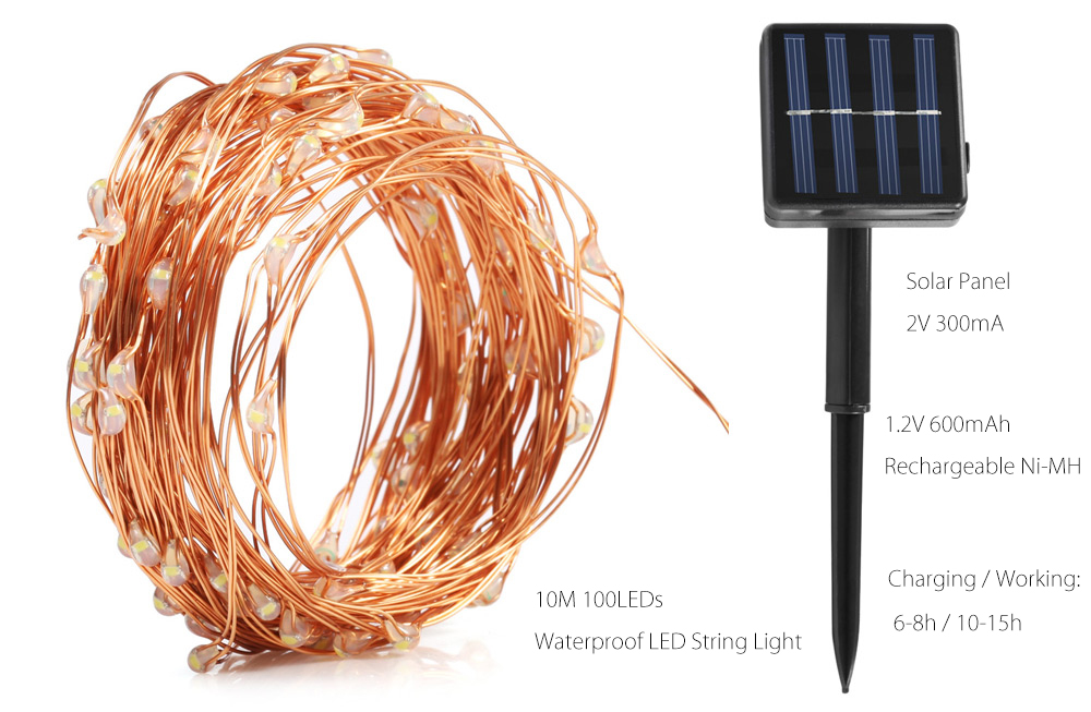 10M 100 x 0603 6W Solar LED String Light Waterproof Bendable Copper Wire