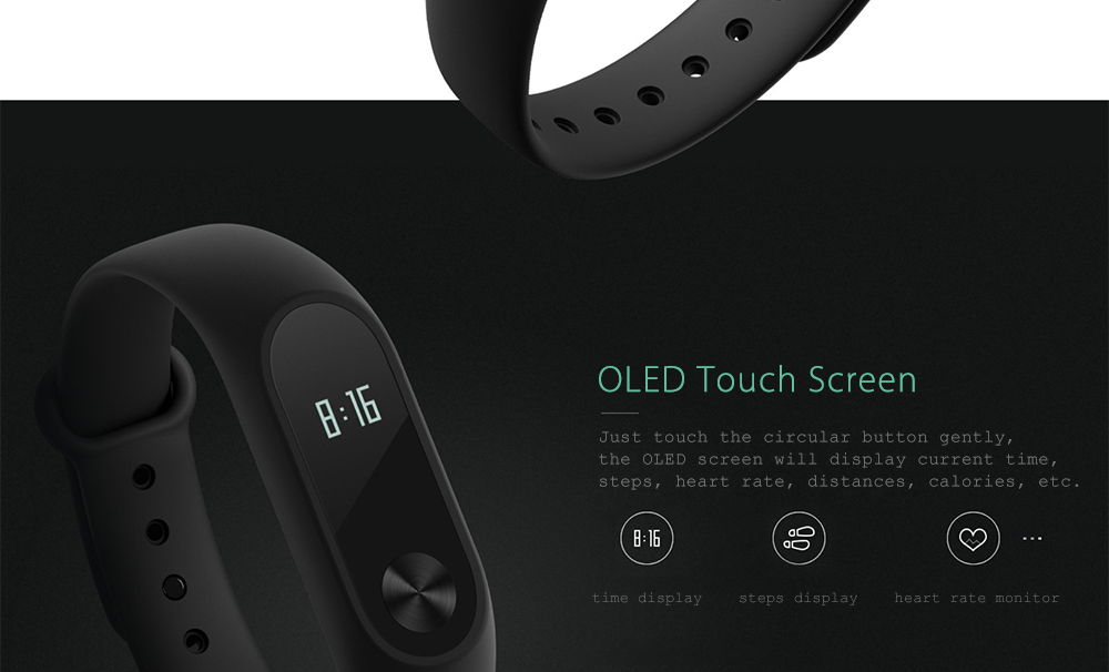 Original Xiaomi Mi Band 2 Smartband IP67 Waterproof Heart Rate Monitor Sedentary Reminder Bluetooth- Black International Version