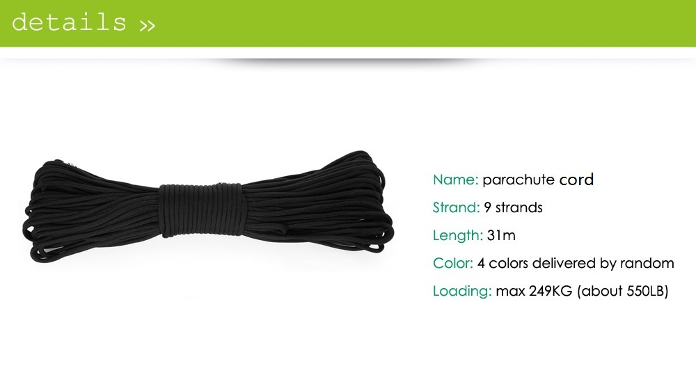 Strong 31m Paracord 9 Strands Parachute Cord Rope Loading 249KG