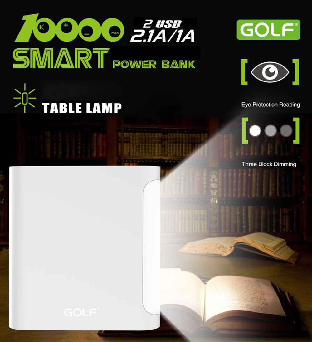GOLF D14GB 10000mAh Quick Charge Portable Power Bank with Dual USB Ports LED Table Lamp Adjustable Lightness
