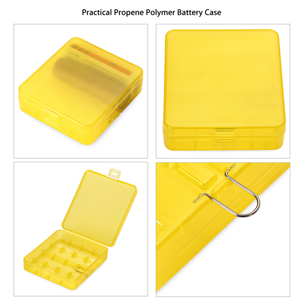 Protective Propene Polymer Battery Case Storage Box with Hook for 4pcs E Cigarette 18650 / 18350 Batteries