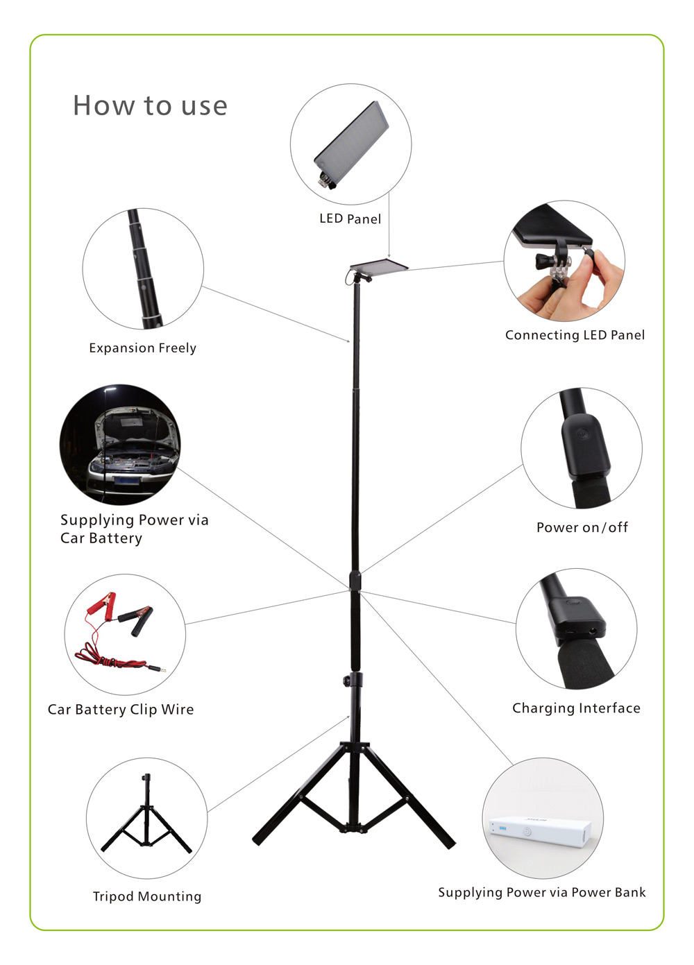 Portable Usb Charging 84 Leds Telescopic Rod Camping Light 3586 Auto Control Panel Wiring Diagram Package Contents 1 X Expansion Led Fixing Pin Power Box User Manual In English And Chinese Car Battery Clip Wire