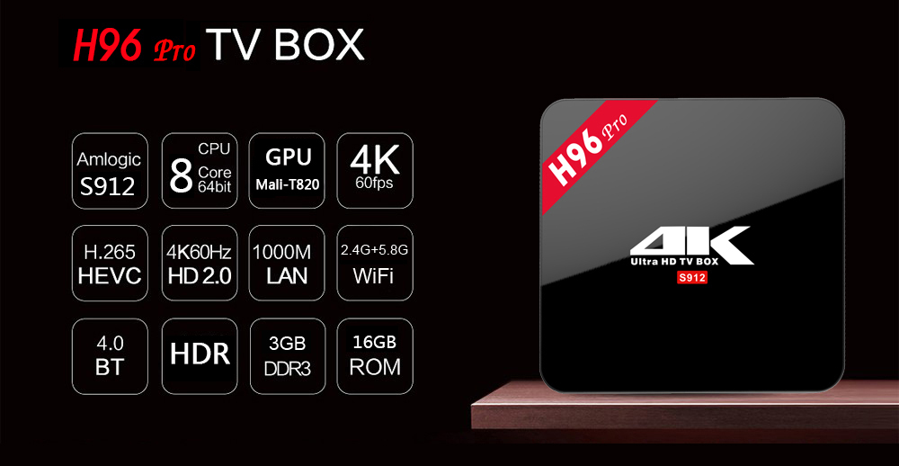 H96 PRO Android TV Box Octa Core Amlogic S912 4K x 2K HDR H.265 Decoding 2.4G + 5.8G Dual Band WiFi Bluetooth 4.0 Multi-media Player