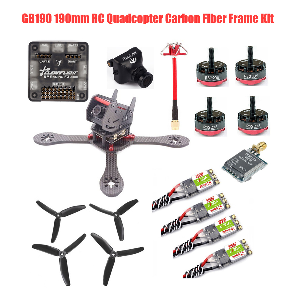 GB190 190mm RC Quadcopter Carbon Fiber DIY Frame Kit Racing Drone with RunCam 700TVL DYS 30A ESC