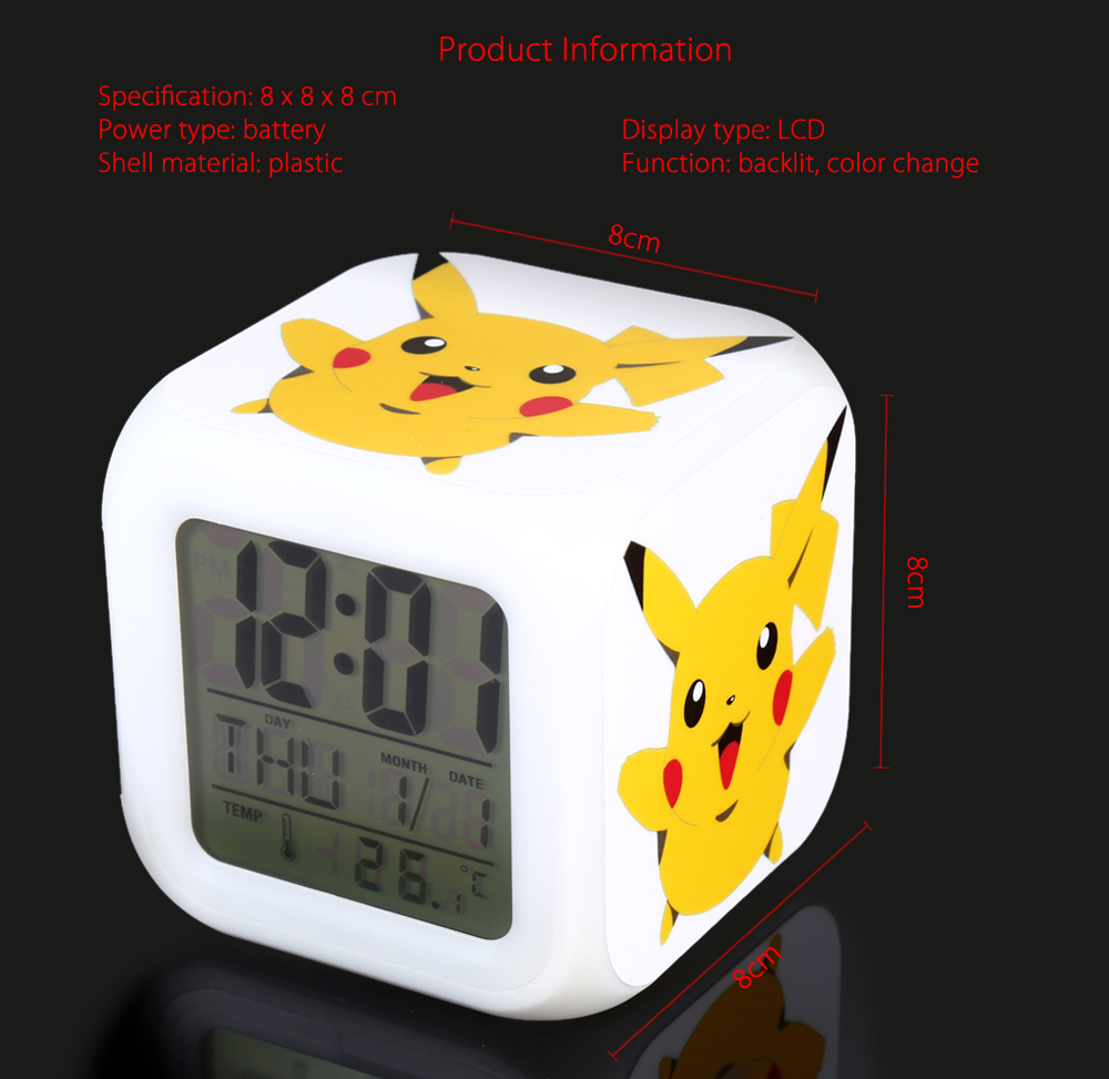 Cartoon Pattern Digital Alarm Clock 7 Color Change LED Glowing Gift for Kid- Colormix