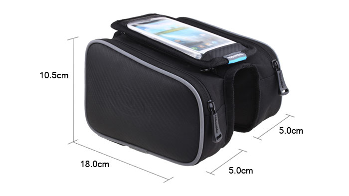 Roswheel 12813 Water Resistant 1.8L Cycling Bike Bicycle Front Frame Bag Tube Pannier Double Pouches for 5.5 Inches Mobile Phone