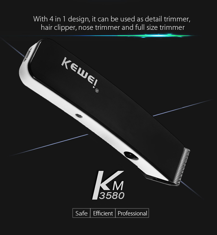 Kemei KM - 3580 4 in 1 Electric Rechargeable Hair Clipper Grooming Kit- Black
