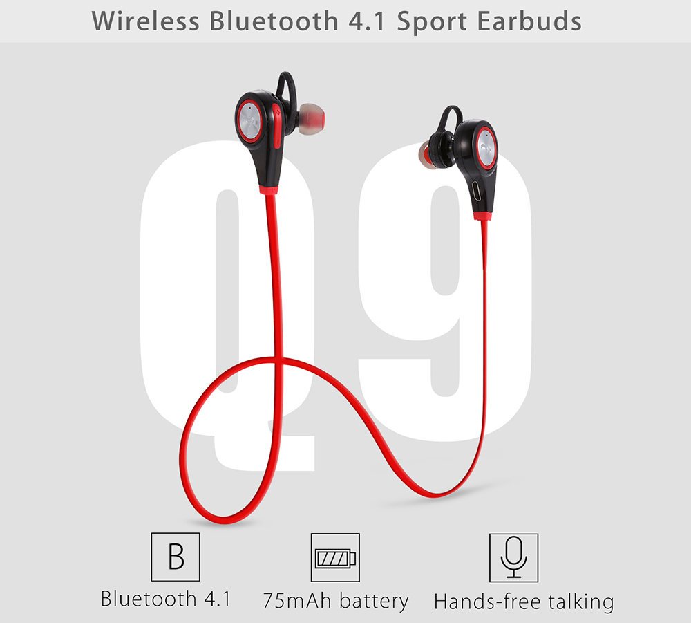 Q9 Wireless Bluetooth 4.1 Music Sport Earbuds with Mic Support Hands-free  Calls- Black