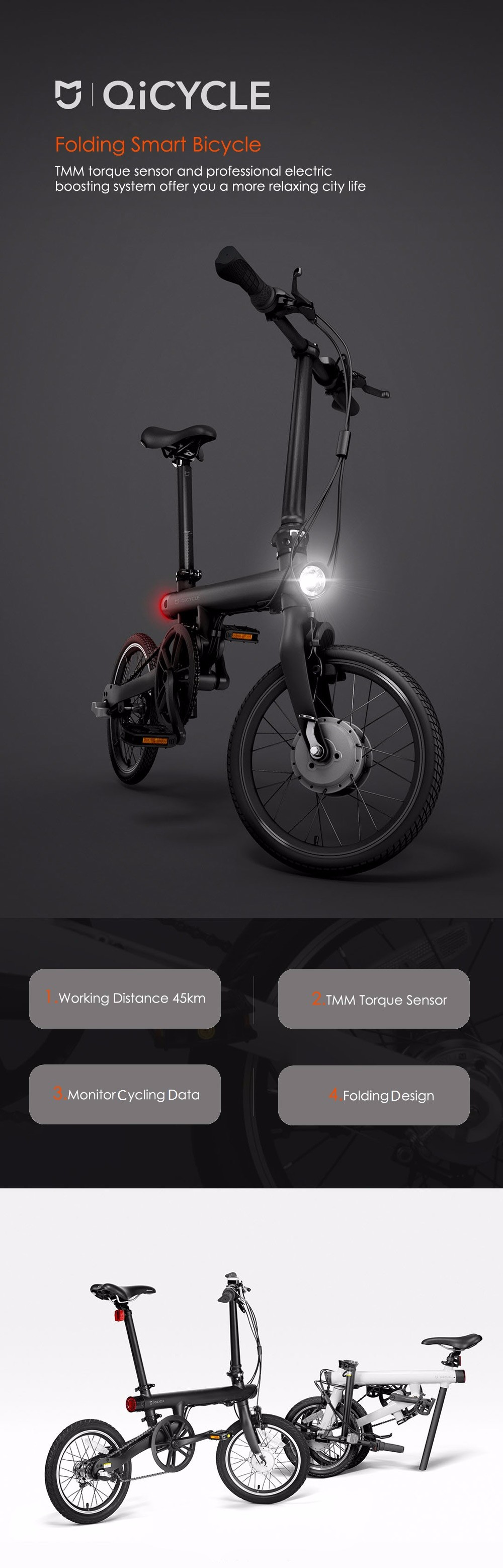 Original Xiaomi QiCYCLE - EF1 Smart Folding Bike Bluetooth 4.0 Bicycle Support for APP
