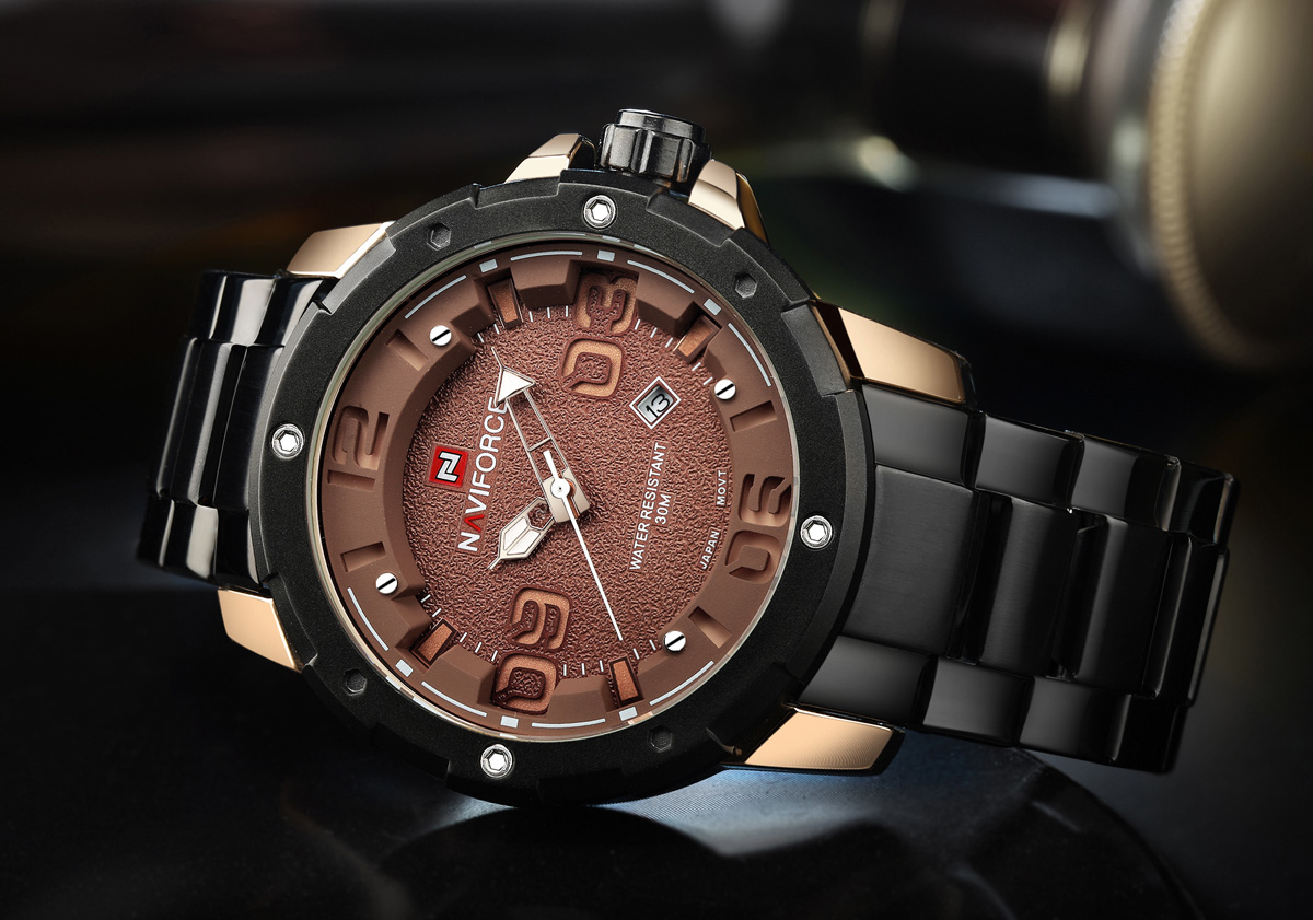 NAVIFORCE NF9078 Hollow-out Scale Date Function Business Quartz Watch for Men- Red with Black