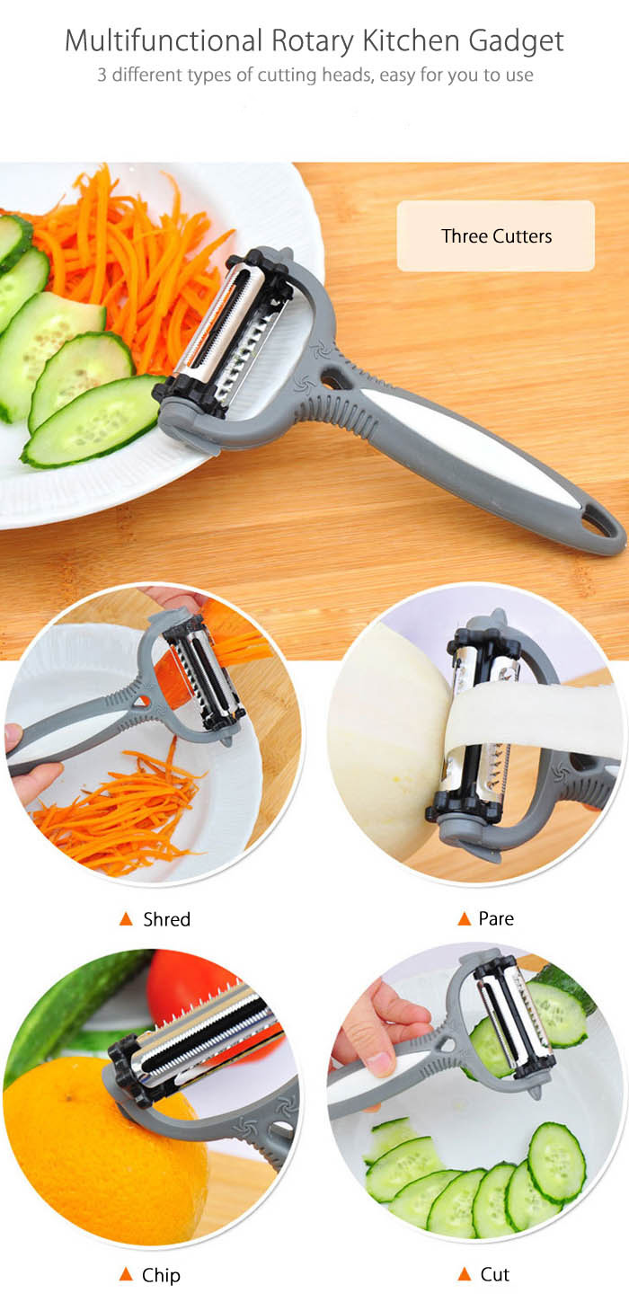 Multifunctional 360 Degree Rotary Gadget Vegetable Fruit Slicer Kitchen Cooking Tools- Gray