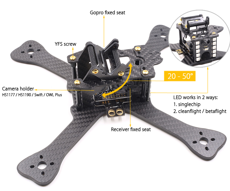 GEPRC GB230 Chimp 6 inch 230mm Carbon Fiber DIY Frame Kit with PDB LED XT60 Camera Mount