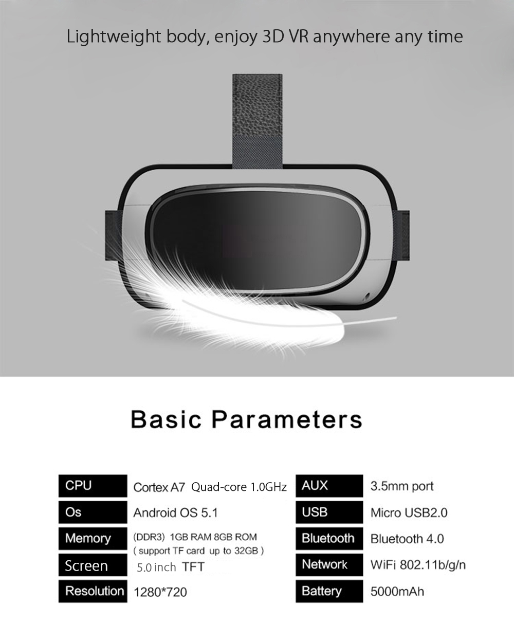 LENKEWI G - 200 All-in-one WiFi 3D VR Headset Video Player Virtual Reality Glasses with TF Card Slot