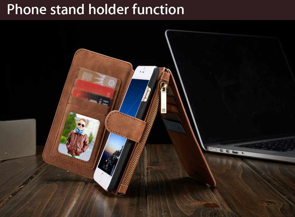 2 in 1 PU Leather Pocket Protective Case for iPhone 6 / 6S Full Body Mobile Shell with Card Slot