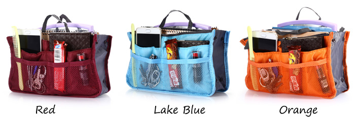 Double-zipper Makeup Pouch Cosmetic Pocket Storage Bag Organizer- Lake Blue