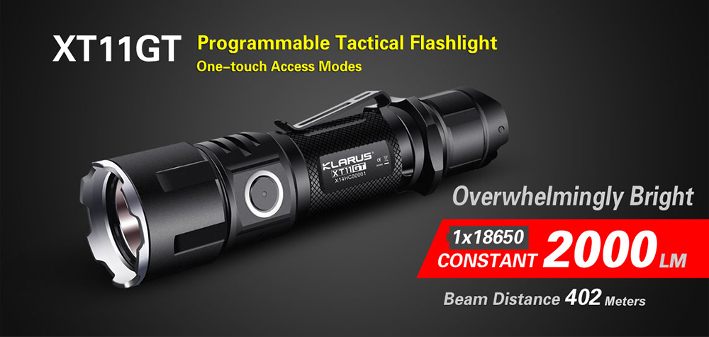 3100mAh Battery KLARUS XT11GT Tactical LED Flashlight 2000LM CREE XHP35 Torch