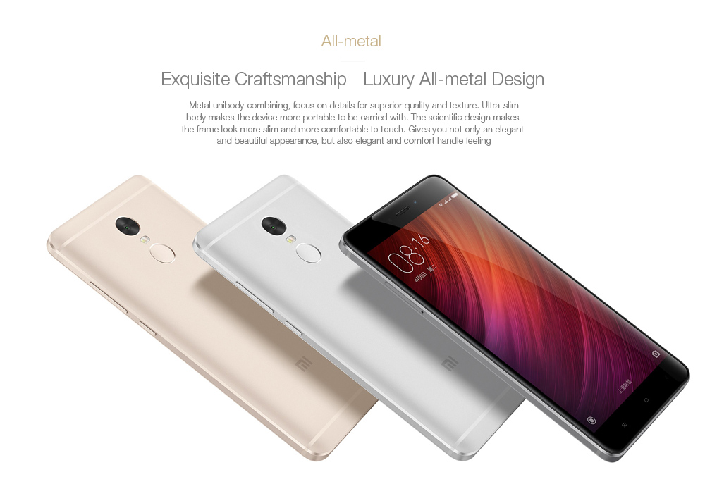 Xiaomi Redmi Note 4 MIUI 8 5.5 inch 4G Phablet Helio X20 2.1GHz Deca Core 2.5D Arc Screen Fingerprint Scanner 13.0MP Rear Camera