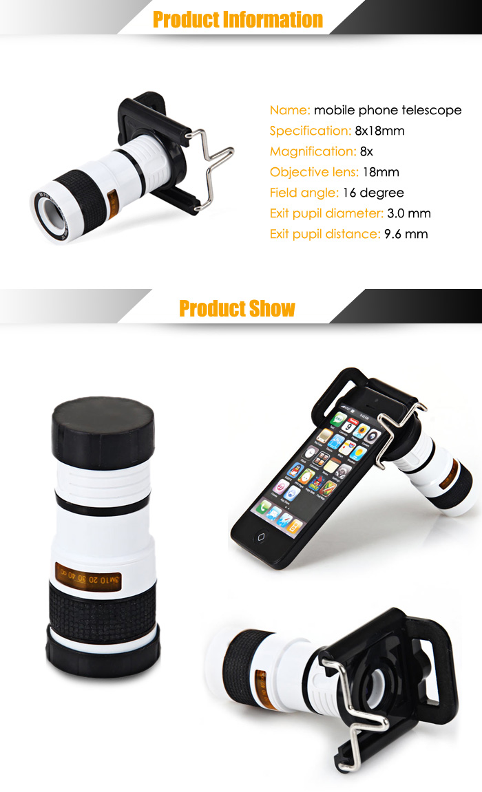 Portable 8x18 Monocular Mini Telescope for Mobile Phone