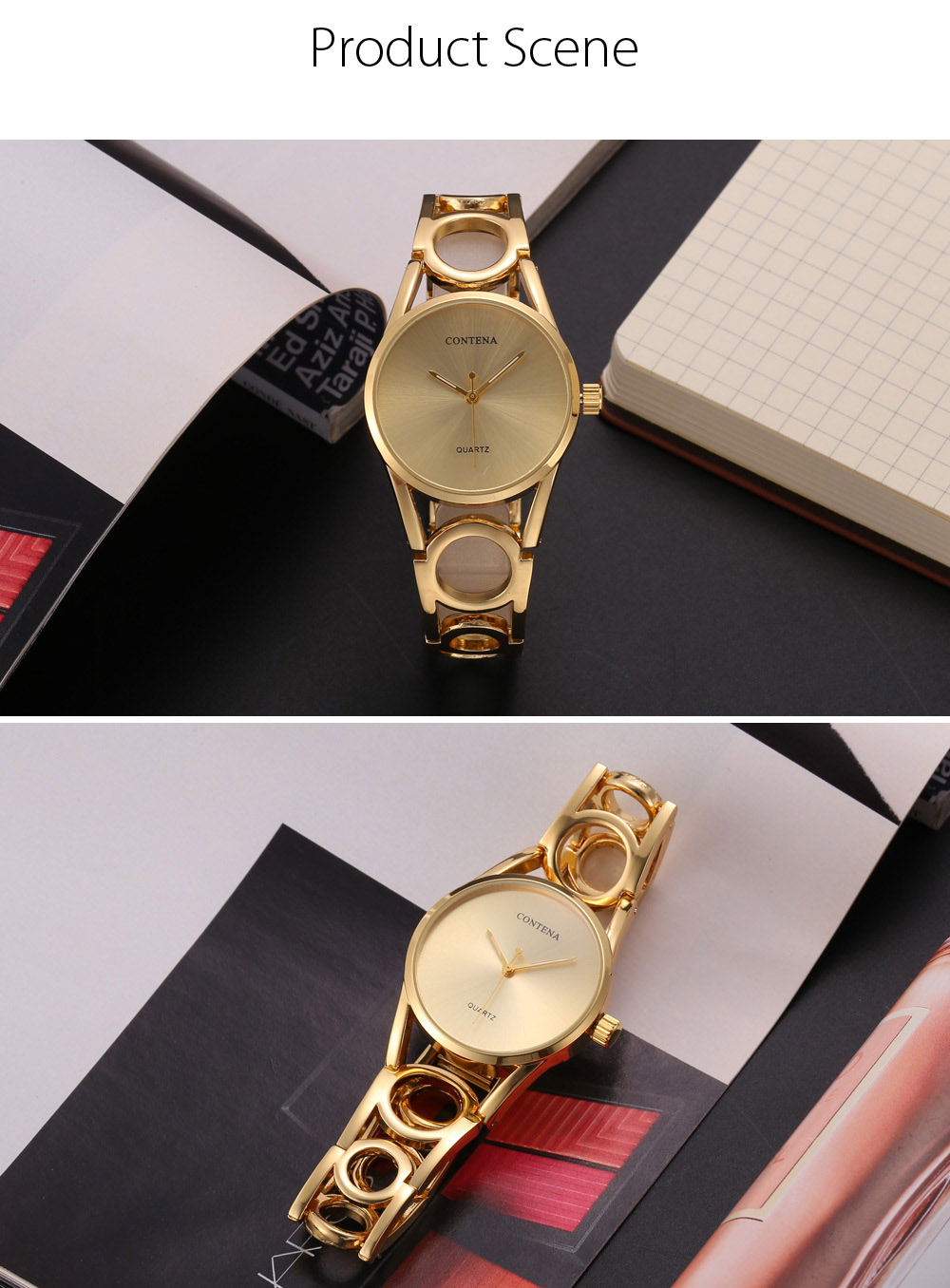 CONTENA Fashion Women Quartz Watch with Hollow-out Strap