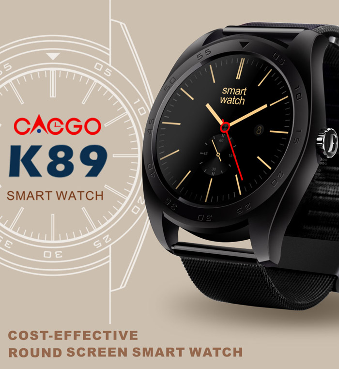 CACGO K89 Bluetooth 4.0 Heart Rate Monitor Smart Watch with Three-axis Accelerometer Loudspeaker- Black Leather Band