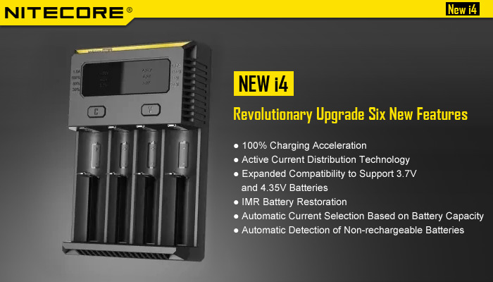 Nitecore NEW i4 Smart Universal Battery Charger Active Current Distribution- Black EU Plug