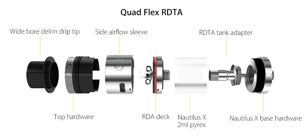 Original Aspire Quad Flex Survival Kit RDTA Atomizer with 4-in-1 Design / 2ml Tank / 22mm Diameter / Side Airflow for E Cigarette