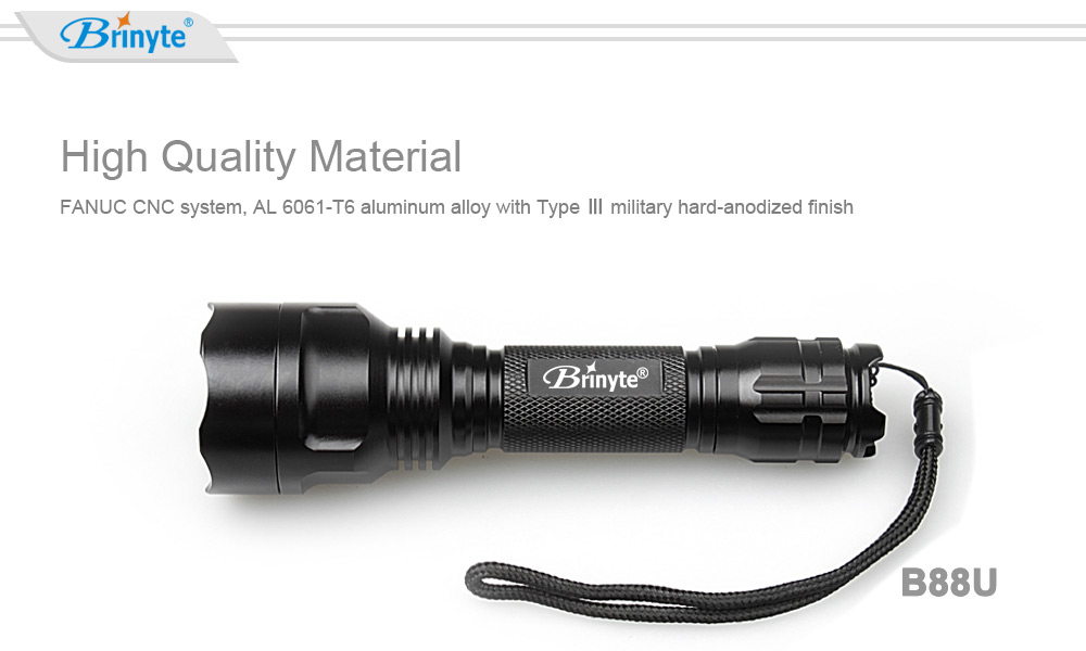 Brinyte B88U Cree XPL HI V3 850Lm 18650 LED Flashlight
