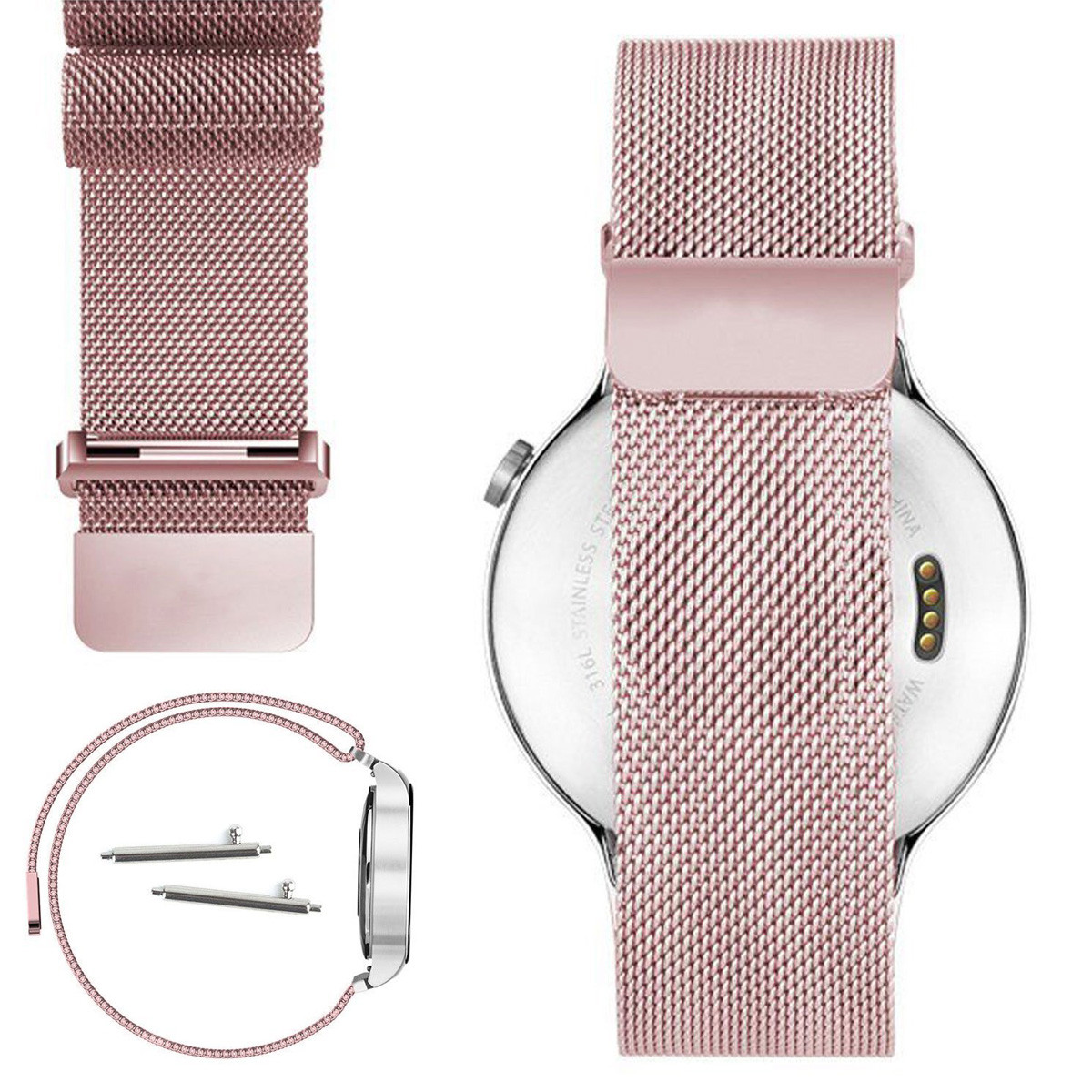 Milanese Stainless Steel Net Strap For Huawei Smart Watch 671 Black Band