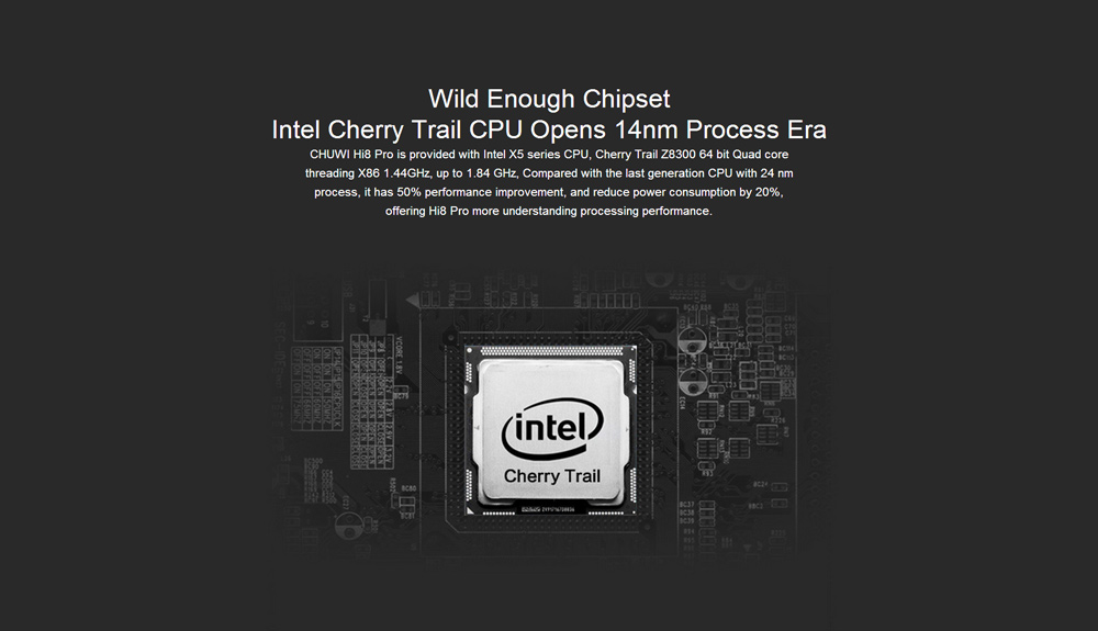 8 inch Chuwi Hi8 Pro Tablet PC Intel Cherry Trail Z8300 64bit Quad Core 1.44GHz WUXGA IPS Screen 2GB RAM 32GB ROM WiFi HDMI Type-C Slot Bluetooth 4.0