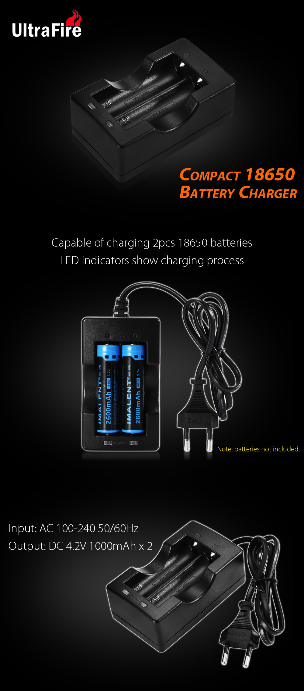 Ultrafire 18650 Li Ion Battery Charger 458 Free Shipping Box 1x Case Single Holder Power Bank Batt Laptop Package Contents 1 X
