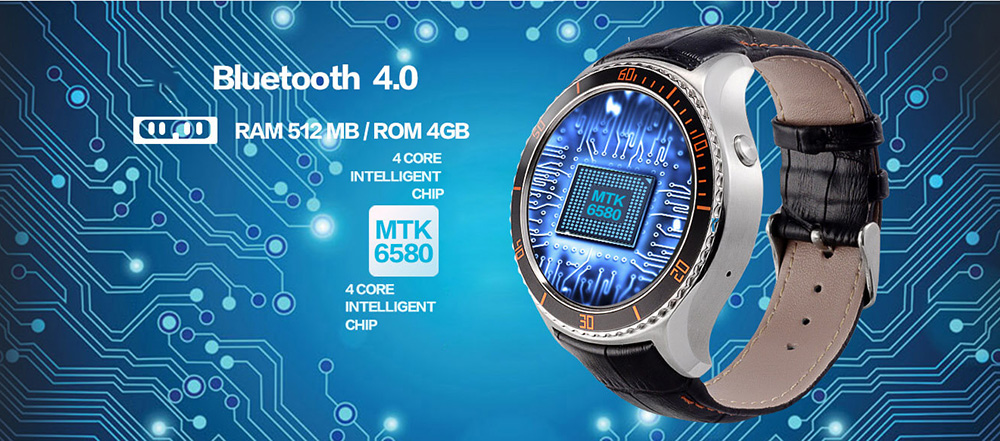 IQI I2 1.33 inch Android 5.1 3G Smartwatch Phone MTK6580 Quad Core 1.3GHz 512MB RAM 4GB ROM Heart Rate Measurement Pedometer GPS Waterproof Bluetooth 4.0