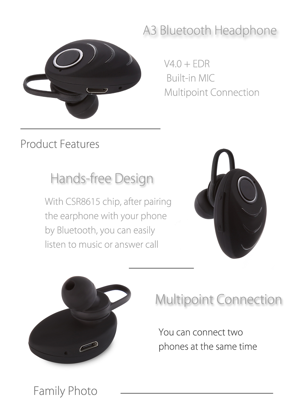A3 Bluetooth Headphone Multipoint Connection 984 Free Shipping Mono Headset Microphone Jack Wiring Package Contents 1 X Earphone Usb Cable Pair Of Earring 2 Earbuds English User Manual