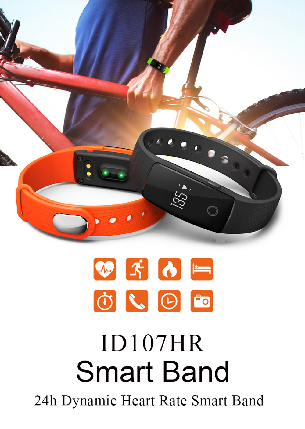ID107 Bluetooth Smart Watch Orologio Monitor Battito Cardiaco Cinturino