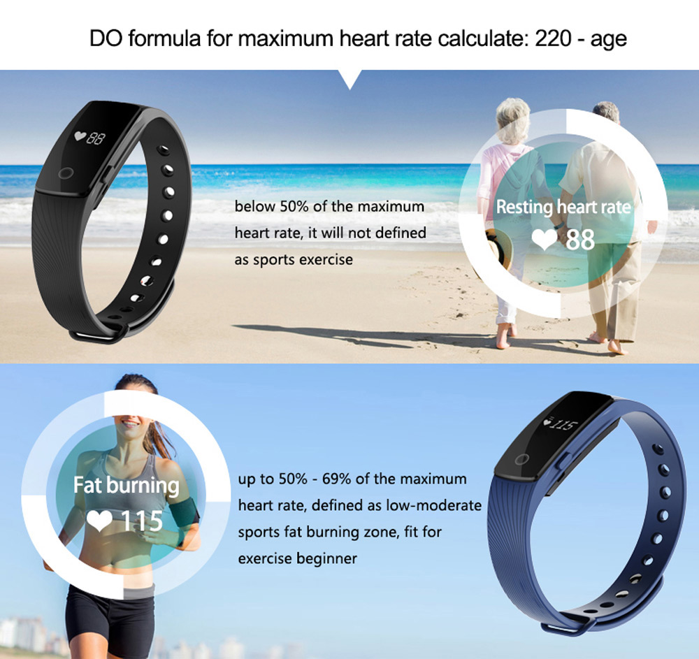 ID107 Smart Watch with Heart Rate Monitor Pedometer Remote Camera Function- Black