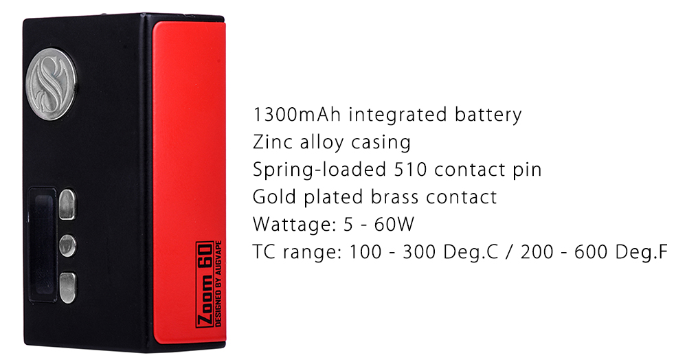 Original Augvape Zoom 60W TC Mod with 100 - 300C / 200 - 600F / 1300mAh Integrated Battery / Zinc Alloy Casing for E Cigarette