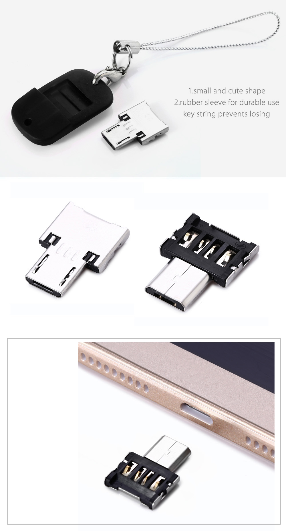 USB to Micro USB Male OTG Adapter with Rubber Sleeve