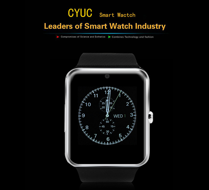CYUC GT08 Smartwatch Phone with MTK6261 CPU Sleep Monitor Pedometer Camera Waterproof Bluetooth- Black