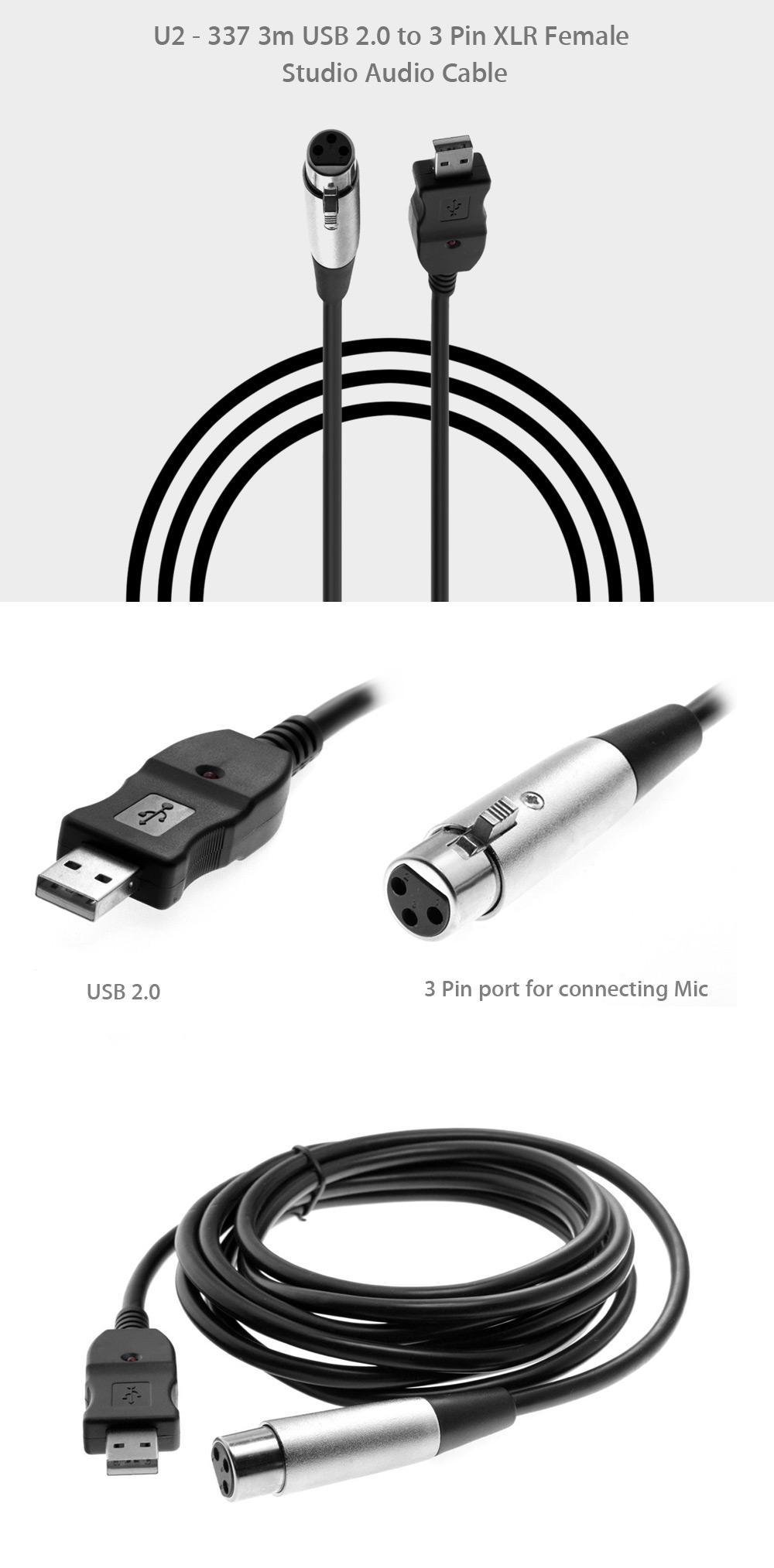 U2 337 3m Usb 20 To 3 Pin Xlr Female Audio Cable 890 Free Wiring Studio For Recording