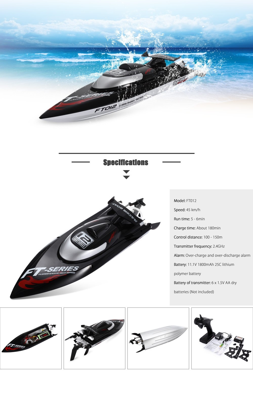 FeiLun FT012 RC High Speed Racing Boat Black Prises Européen