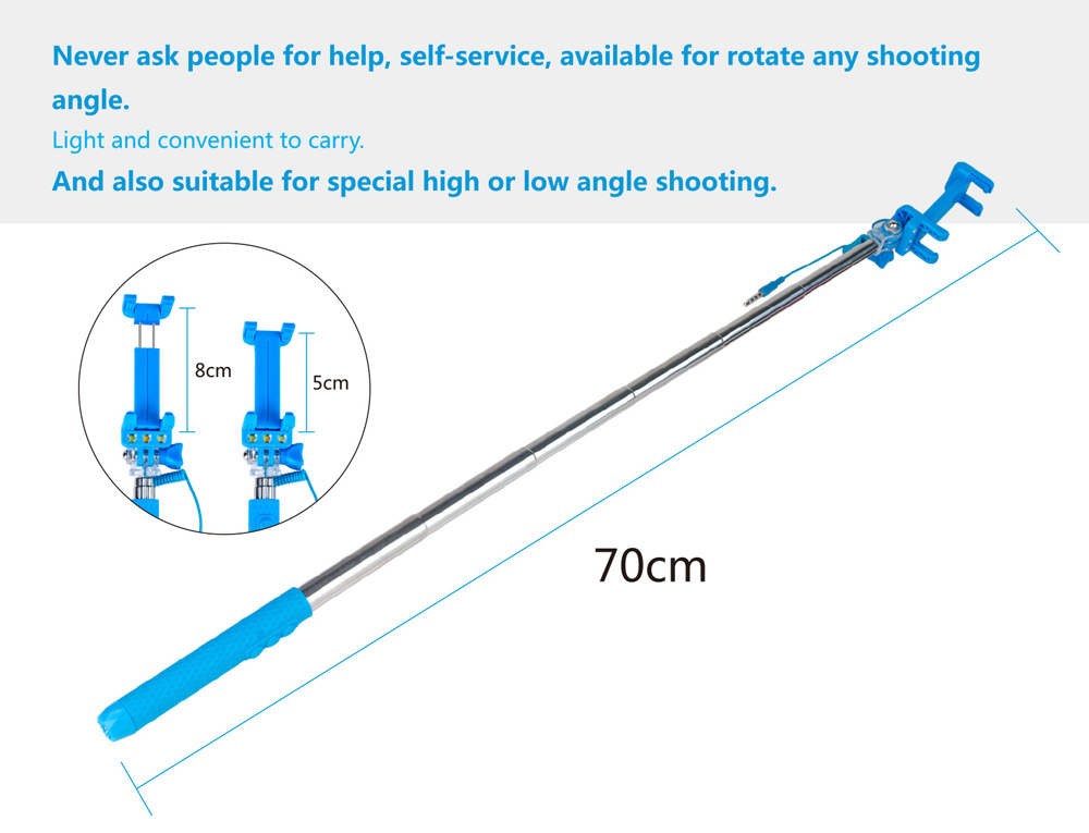 LeeHUR Selfie Stick Monopod Camera Shutter with Flash Light Rear-view Mirror 270 Degree Rotation