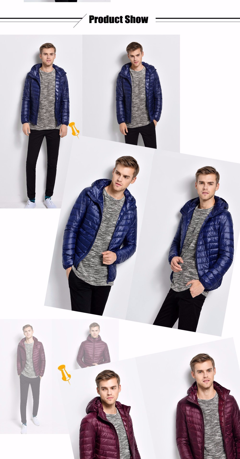 Men Hooded Short Down Jacket