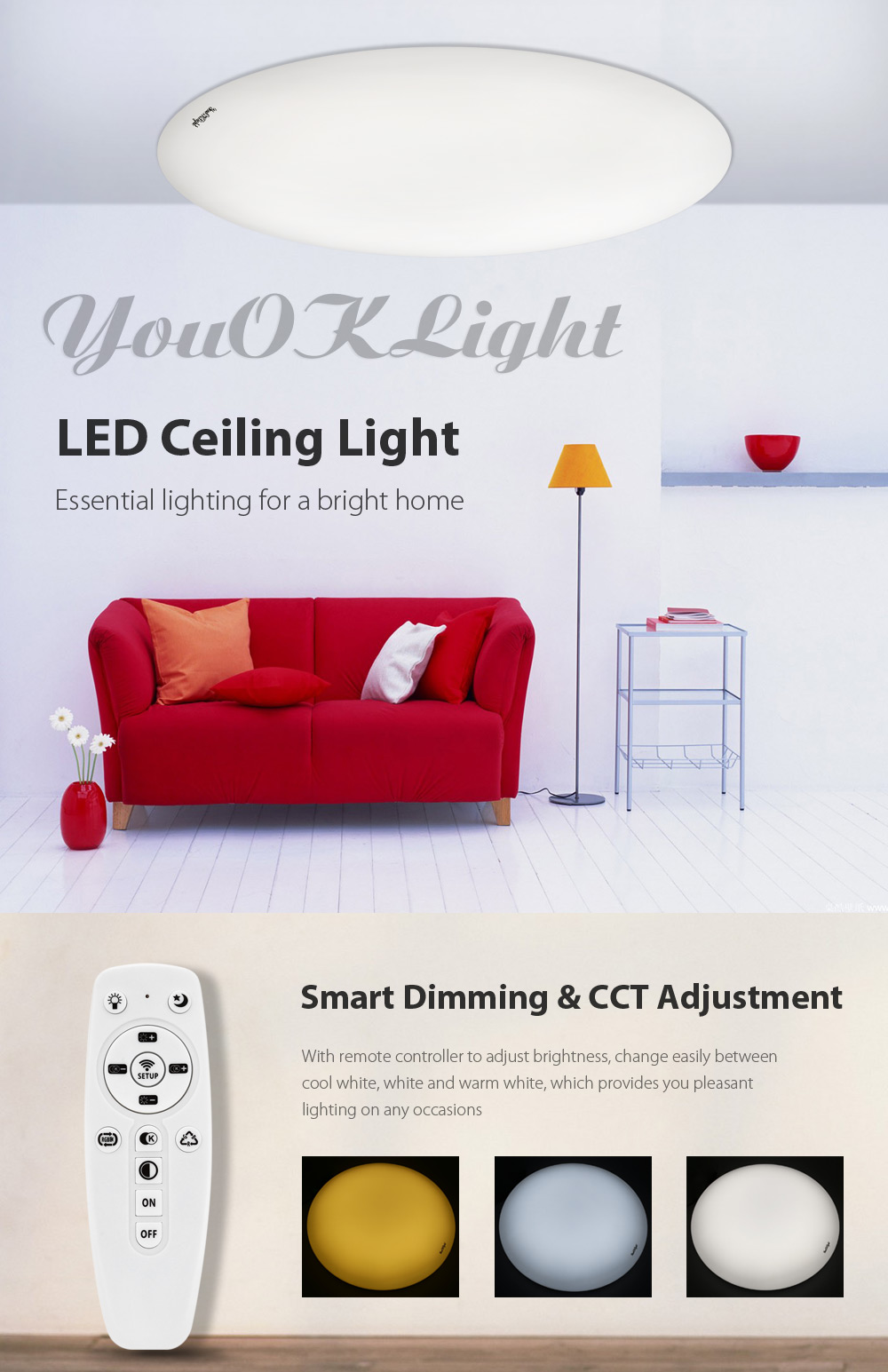 youoklight remote control led ceiling light 110v-$21.12 online