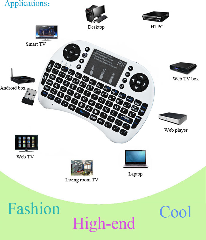 Rii I8 Mini 24GHz Wireless Touchpad QWERTY Keyboard Built In Lithium Battery For Smart