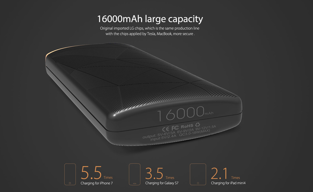 Elephone Power Thunder Qualcomm Certification 3.0 16000mAh Portable Power Bank Quick Charge Type-C Interface