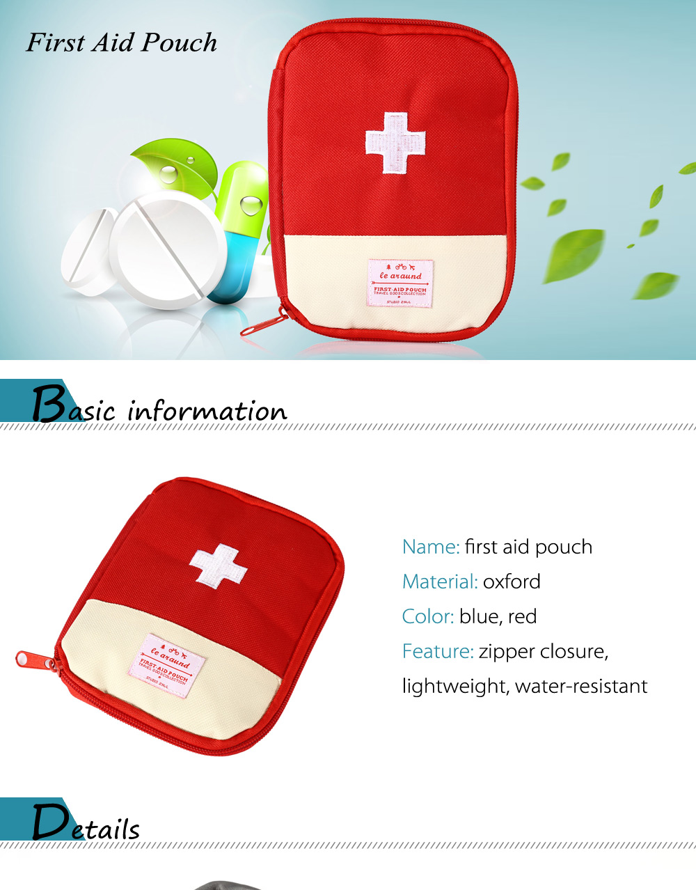 Portatile Resistente all'acqua First Aid Pouch Bag in Tessuto Oxford